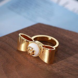 Tory Burch Gold Bow Pearl Logo Ring 6#